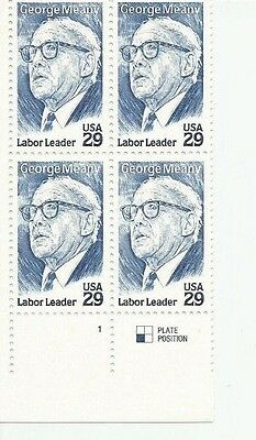 1994 U. S. Scott 2848,  George Meany Labor block of four, 29 cent stamps at FV