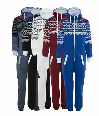 Unisex AZTEC PRINT HOODED Zip 1Onesie Jumpsuit All In One Men Women Ladies