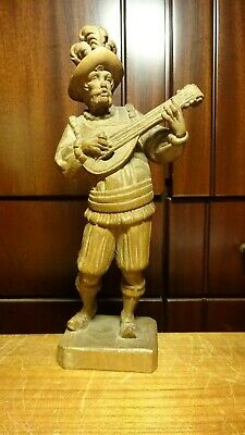"""Antique 10"""" Wood Hand Carved Pirate With Mandolin Medieval Musician Statue Gift"""