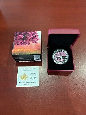 2016 $15 Fine Silver Coin Cherry Blossoms - Royal Canadian Mint-