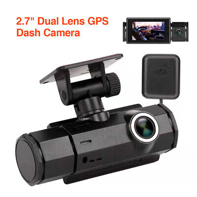 140FOV Dual Lens 1080P + 720P Vehicle GPS Car Dash Cam DVR Recorder Night Vision