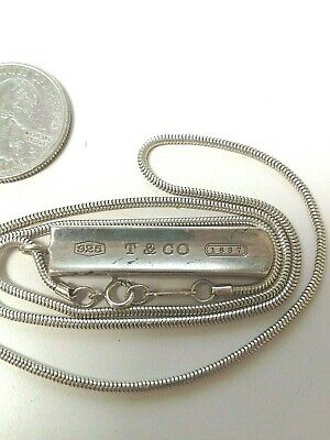Tiffany & Co. 1837 Sterling Silver 925 Bar Snake Chain Pendant Necklace
