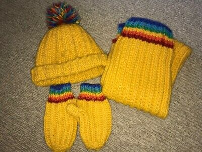 Little Bird by Jools - Yellow Rainbow Hat, Scarf & Mittens - One Size/Age 6-8