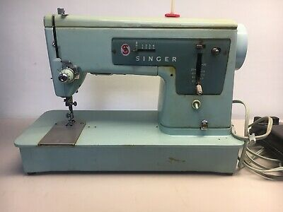 Vintage 1960s Singer Model 337 Sewing Machine Turquoise Blue No Case, FOR PARTS