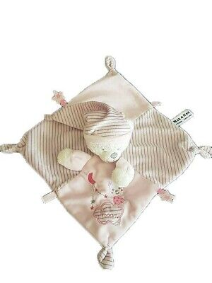 Doudou Max & Sax Ours Rose Moon Rayure Gris Plat -