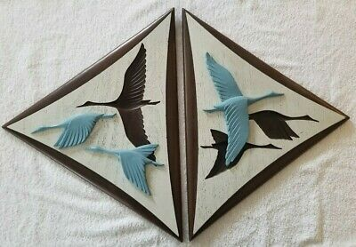 Pair Mid Century Modern Burwood Triangular Flying Geese Wall Hanging Plaques