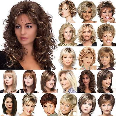 Women Brown Ombre Short Fluffy Curly Wigs Ladies Natural Wavy Hair Bob Wig CY UK