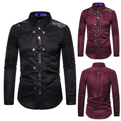 Men's Gothic Vintage Rivet Shirts Costumes Long Sleeve Slim Fit Tops Blouses