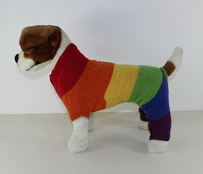 Printed Instructions - Dog Rainbow Romper Coat All-In-One Knitting Pattern