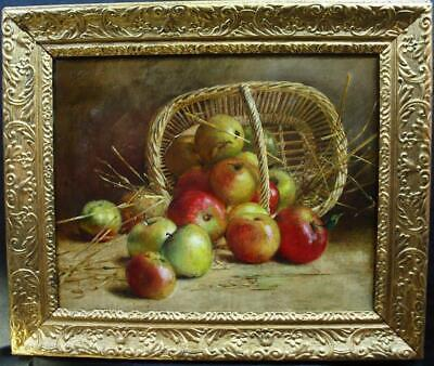 LARGE 19th CENTURY STILL LIFE APPLES & BASKET Antique Oil Painting