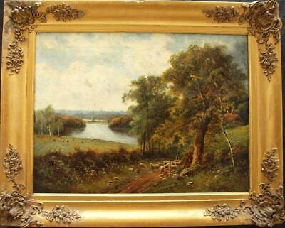 LARGE 19th CENTURY VIEW OF OXFORD AT HARVEST TIME SIGNED Antique Oil Painting