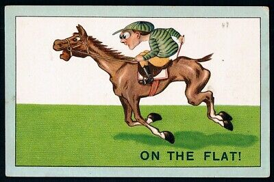 """Comic Postcard • Unused • ca1906 • """"ON THE FLAT!"""" • Horse Racing related • JM Co"""