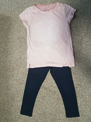 NEXT pink sequins heart t-shirt & navy blue leggings set age 6 (5-6 6-7)