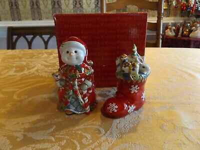 Fitz and Floyd Classics Christmas Snowman Salt & Pepper Shakers NEW OPEN BOX