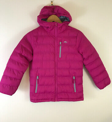 Trespass Girls Pink Askel Padded Quilted Hooded Coat Warm 7-8 Years