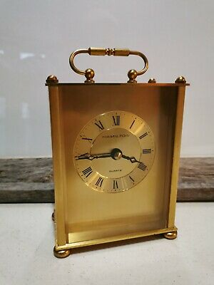 Hamilton Made in Germany Quartz Mantle Clock Battery brass counter top A8