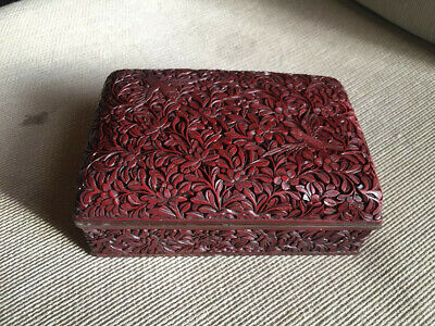 Vintage ~ Chinese Hand Carved Cinnabar Box, Dark Red with Floral and bird Motif.