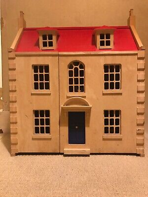 Large Wooden Dolls House Including Furniture and Figures