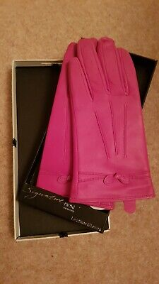 Ladies NEXT pink Leather Gloves - Ideal Christmas Gift - New Boxed