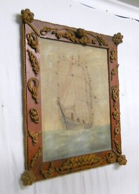 Folk Art Nautical Themed Picture Frame w/ Ship Painting Sailor Ropes Knots 38 In