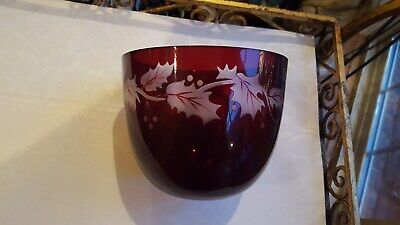 Vtg Ruby Red Glass Bowl W Clear Frosted Holly Design By Teleflora