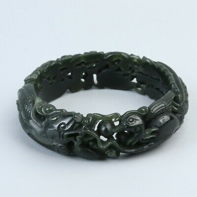 Chinese Exquisite Hand carved Dragon phoenix Carving Hetian jade bracelet