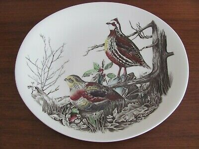 """Vintage JOHNSON BROTHERS GAME BIRDS OVAL DINNER PLATE QUAIL England 10 1/4"""""""