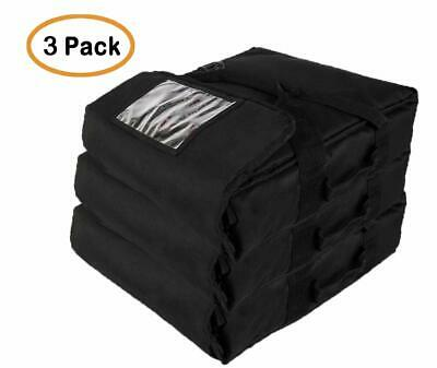 "Professional Heavy Insulated Pizza Delivery Bag, 20""X20""X9"" (Pack of 3) Black"