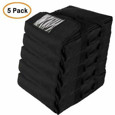"Professional Heavy Insulated Pizza Delivery Bag, 20""X20""X9"" (Pack of 5) Black"