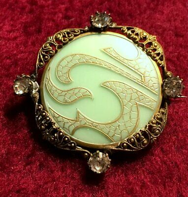 Beautiful Antique CHINESE Mint Green + Gold PIN / BROOCH Filagree Victorian Era