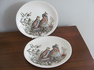 """Johnson Brothers England Game Birds Oval Dinner Plate Ruffed Grouse 10 1/4"""""""