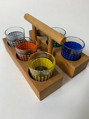 Vintage 6 Piece Shot Glass Set In Wood Holder Poker Liquor