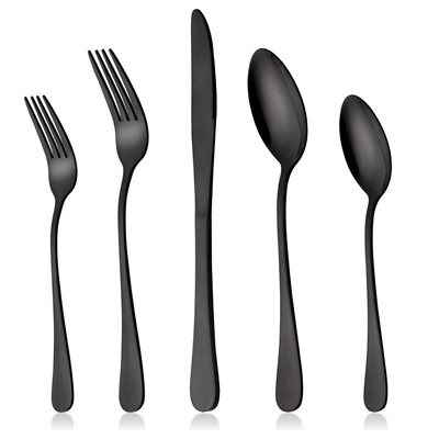 20 piece Stainless Steel Dinner Knife Spoon Silverware Matte Black Flatware Set