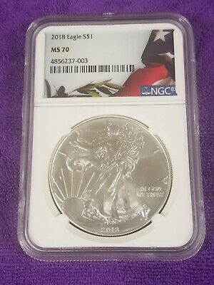 2018 Silver American Eagle Ngc Ms 70 Flag Label