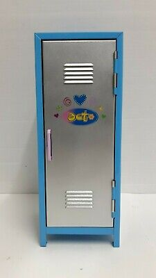 "Mini Metal School Doll Locker Blue 2 Shelves 10 3/4"" Tall"