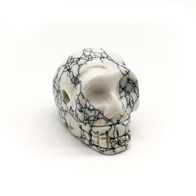 White/Black Nature Carved Quartz Crystal Stone Skull Healing Figurines Gift 0.8""