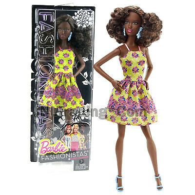 FASHIONISTA ~ DRESS ~ BARBIE DOLL FANCY IN FLOWERS YELLOW FLORAL PRINT COCKTAIL