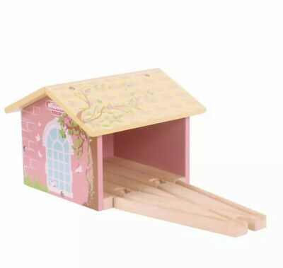 NEW Bigjigs Wooden Railway Pink Double Engine Train Shed Traditional Toy