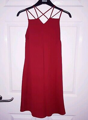 RIVER ISLAND Size 8 Red Dress Strappy Womens Ladies Girls WORN ONCE