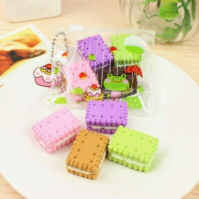 4pcs Office Cute Gifts Stationery Mini Accessories Biscuit Shape Children Eraser