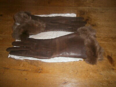 Fownes Vintage brown leather partly fur lined gloves