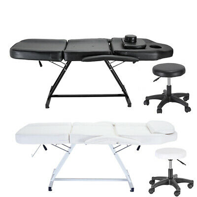 Massage Table - Beauty Salon Treatment Tattoo Couch Bed Chair with Stool