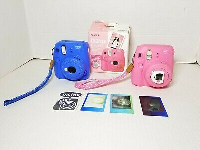 Lot of 2 Fujifilm Instax Mini 9 Instant Film Camera - PINK & BLUE, (PARTS ONLY)