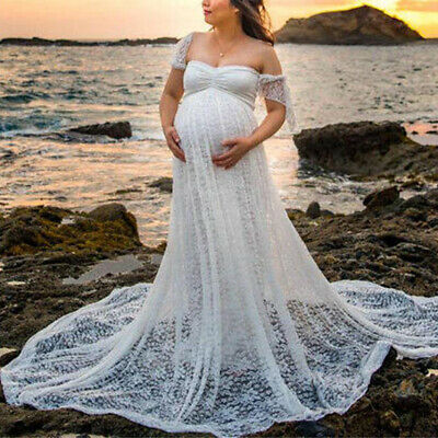 Pregnant Women Off Shoulder Lace Maxi Dress Maternity Photography Props White