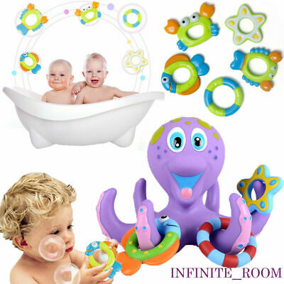 Bath Toy Baby Kids Floating Octopus Infant Toddlers Play +5 Ring Shower D5X4W