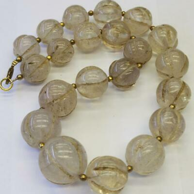 Antique Rock Crystal stone melon beads Wonderful old Necklace