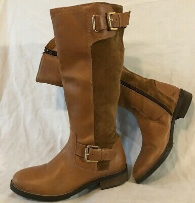 Love Leather Light Brown Mid Calf Leather Lovely Boots Size 4 (541QQ)