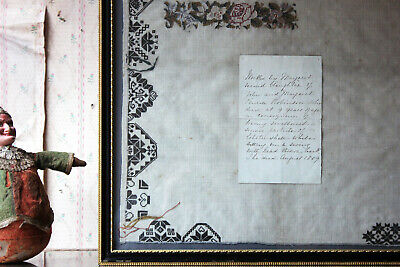 Antique Poignant George III Unfinished Sampler by Margaret Penrose Robinson 1809