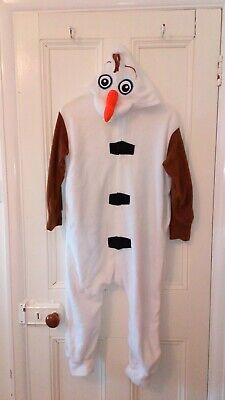 Christmas gift Olaf Snowman Frozen fleecy all in one age 7-10 with hood. Used