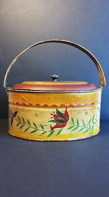 Antique Painted Tin Toleware Yellow Box Red Dome Lid Folk Art